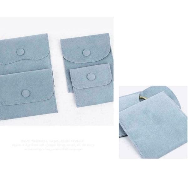 1* Velvet Snap Button Bag Smycken Förvaring Flanell Presentpåse C gray 8.5*10