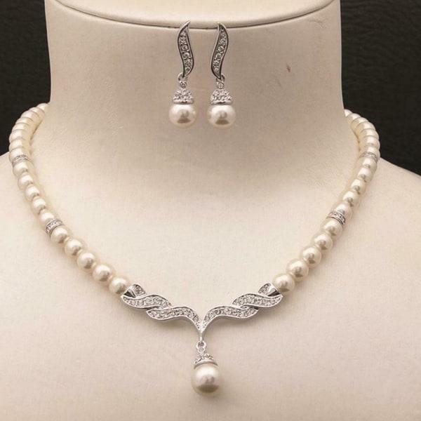 Angel Wings Pearls Necklace Örhängen Smycken Set Bröllop
