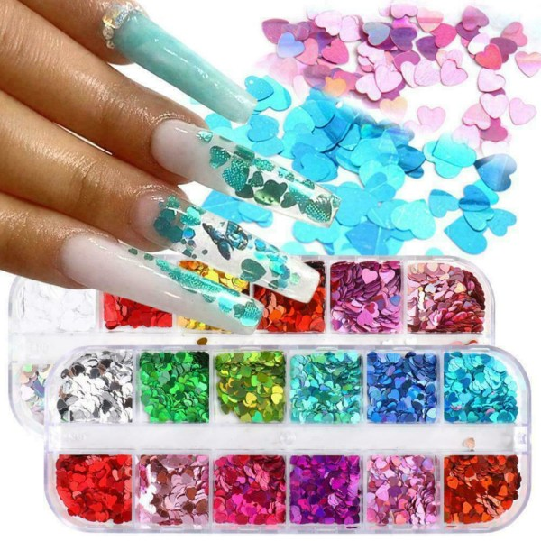 Art Love Heart Nail Sequins Holographic Glitter Flakes 3D Decor