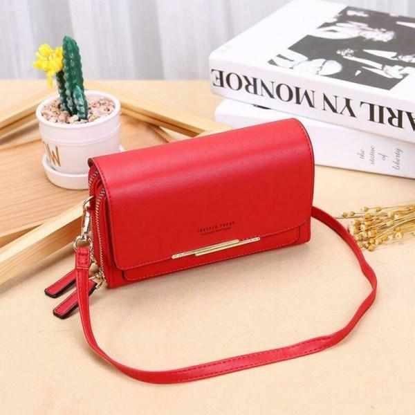 Axelremsväska med korsfärg för kvinnor läderväska handväska