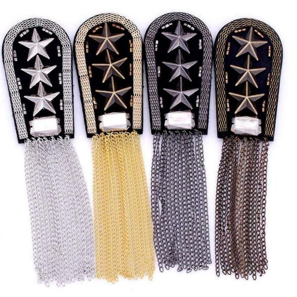 Gothic Punk Tassel Epaulette Shoulder Board Star Medal Brooch