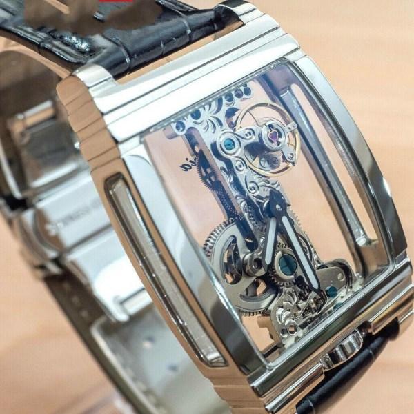 Mens svänghjul rörelseutställning manuell mekanisk silver