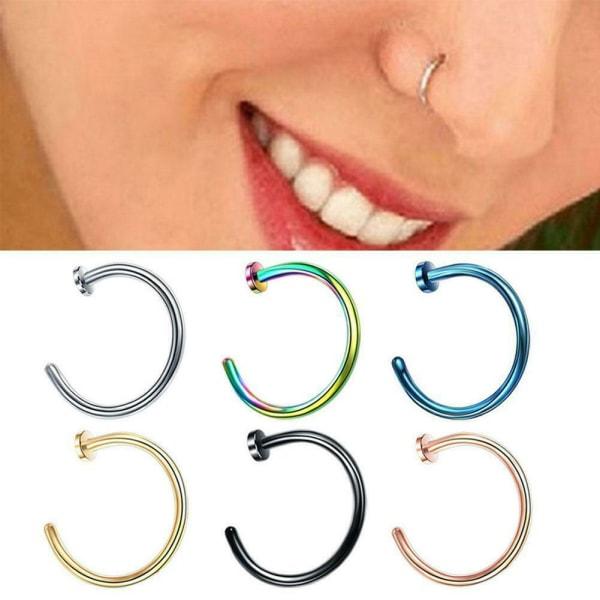 Nosring Stål Fake näsringar Hoop Lip Nose Rings säkerhet