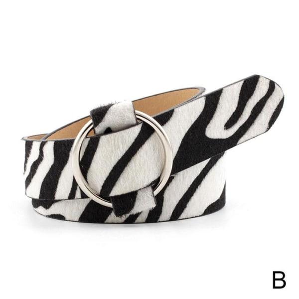 Sexig Leopard Zebra Print Bälte PU Läder Metall Runt Mode