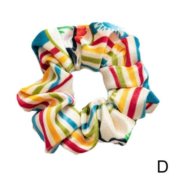 Kvinnors jul Scrunchies Velvet Hair Ring Rope Xmas Print