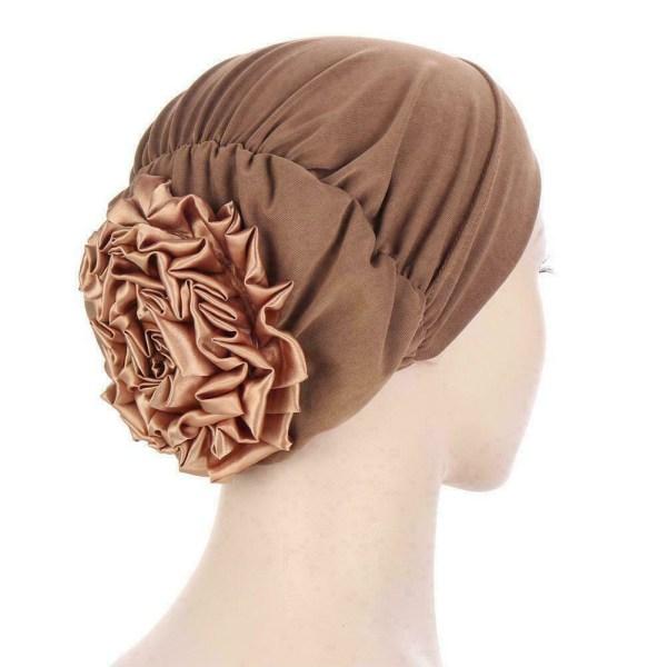 Kvinnors Satin Sleep Night Cap med knapphuvudskydd