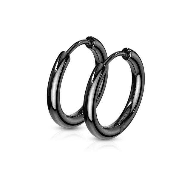 1 Par15 mm Hoops örhängen i Svartfärgad  316L kirurgiskt stål