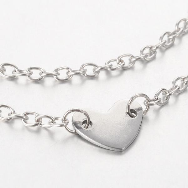 Handgjort Vristlänk i i AISI 304 Kirurgiskt stål med Hjärta