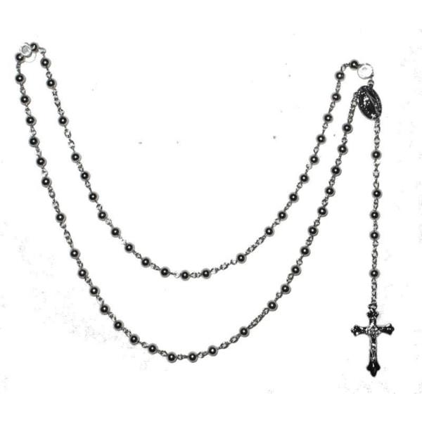 Radband / Kors halsband Silverfärgade metall pärlor  Silver