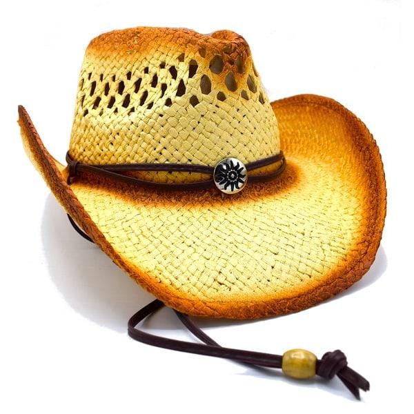 Cowboyhatt med medaljong och brunrem - handgjord hatt   Brun
