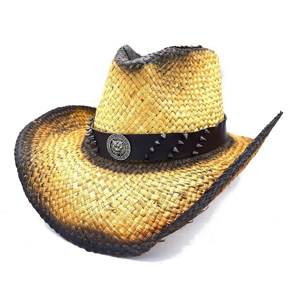 Cowboyhatt medaljong med nitar - handgjord hatt