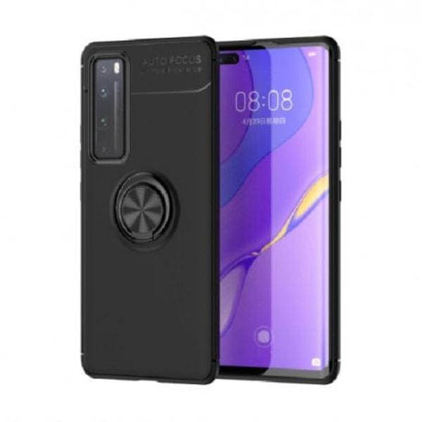 Huawei P Smart 2021 Praktisk Stöttåligt Skal med Ringhållare V3 Svart