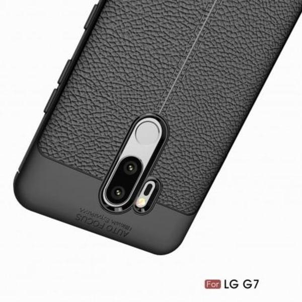LG G7 Stöttåligt & Stötdämpande Skal LeatherBack® Svart
