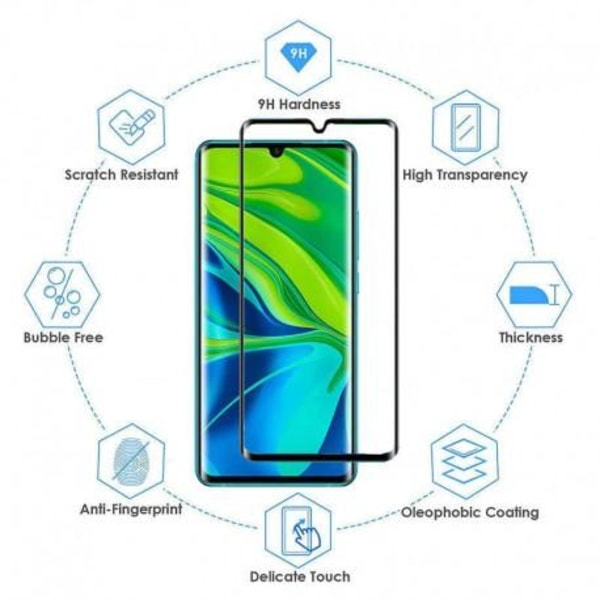 Xiaomi Mi Note 10 / 10 Pro FullFrame® 3D 0.26mm 9H Härdat Glas Transparent