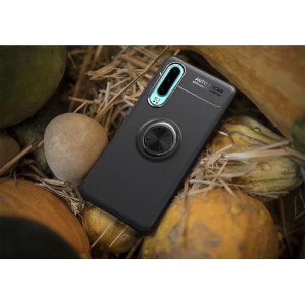 Huawei P30 Praktisk Stöttåligt Skal med Ringhållare V3 Svart
