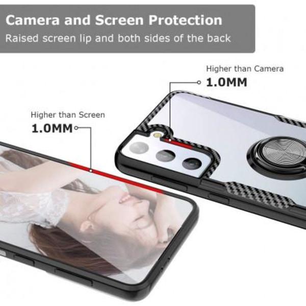 Samsung S21 Plus Praktisk Stöttåligt Skal med Ringhållare V4 Transparent
