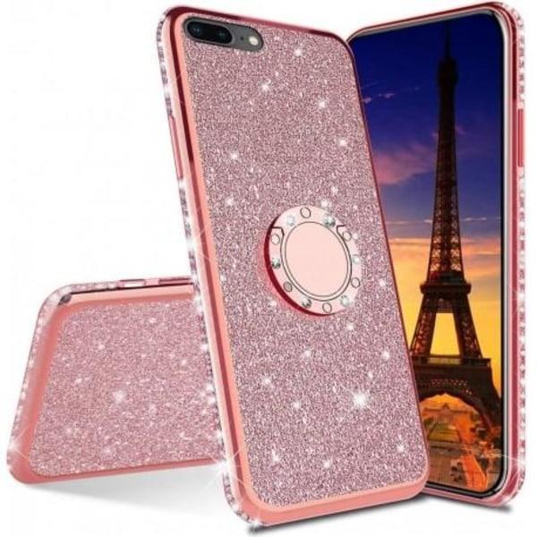 iPhone 7 Plus / 8 Plus Stötdämpande Skal med Ringhållare Strass Guld