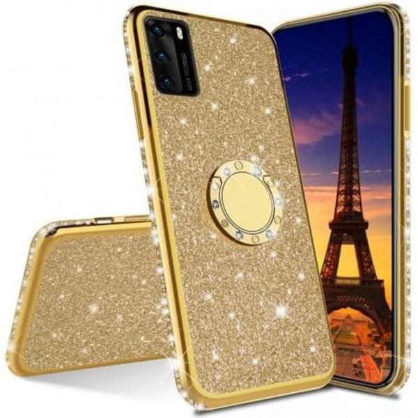 Samsung A41 Stötdämpande Skal med Ringhållare Strass Guld