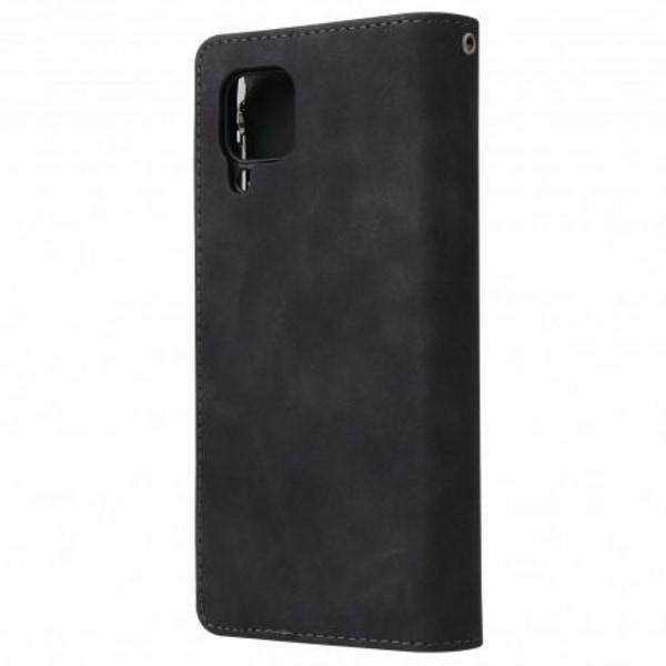 Samsung A12 Multifunktionellt Plånboksfodral Zipper 8-Fack Svart