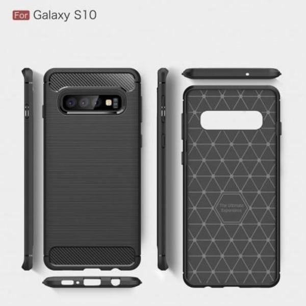 Samsung S10 Plus Stöttåligt Stötdämpande Skal SlimCarbon® Svart