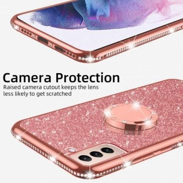 Samsung S21 Plus Stötdämpande Skal med Ringhållare Strass Svart