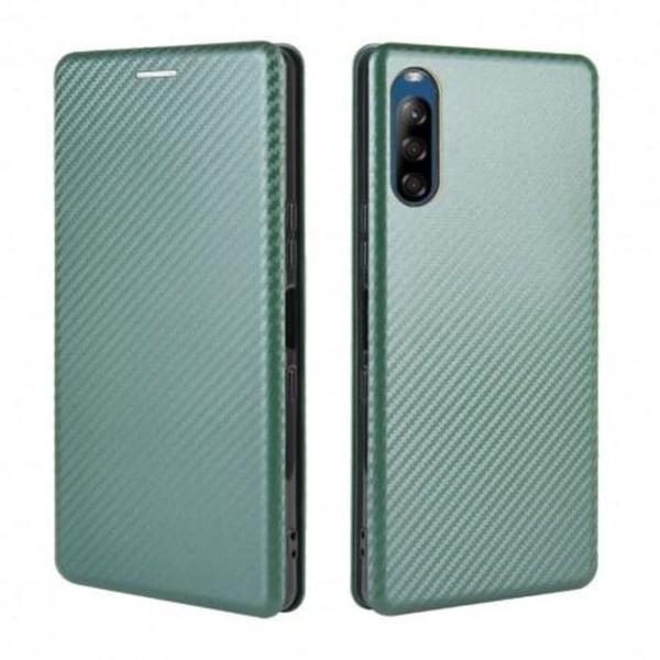 Xperia L4 Flipfodral Kortfack CarbonDreams® Grön Grön