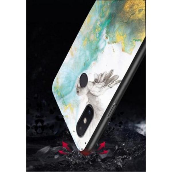 Huawei P20 Lite Marmorskal 9H Härdat Glas Baksida Glassback® V2 Black Variant 4