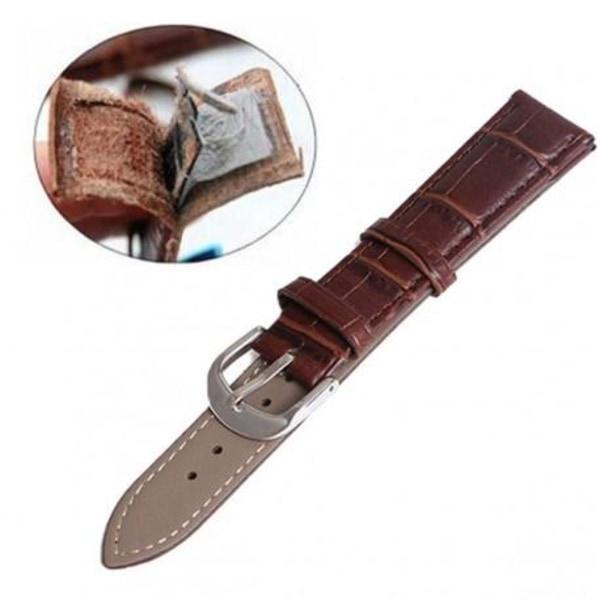 Klockarmband i Läder (Vintage-design) Black Svart - 20mm