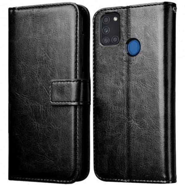 Samsung A21s Plånboksfodral PU-Läder 4-FACK Svart Svart