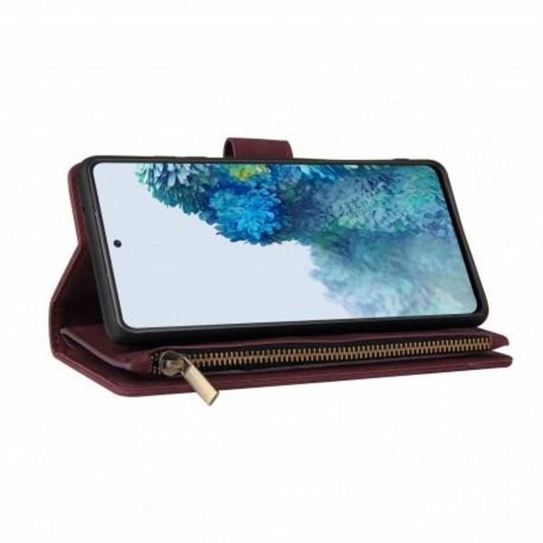 Samsung S20 FE Multifunktionellt Plånboksfodral Zipper 8-Fack Svart