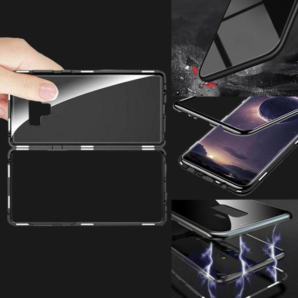 Hårt Glas Skal för Samsung Galaxy Note 9 Hård-Plast Bok Metall A Svart