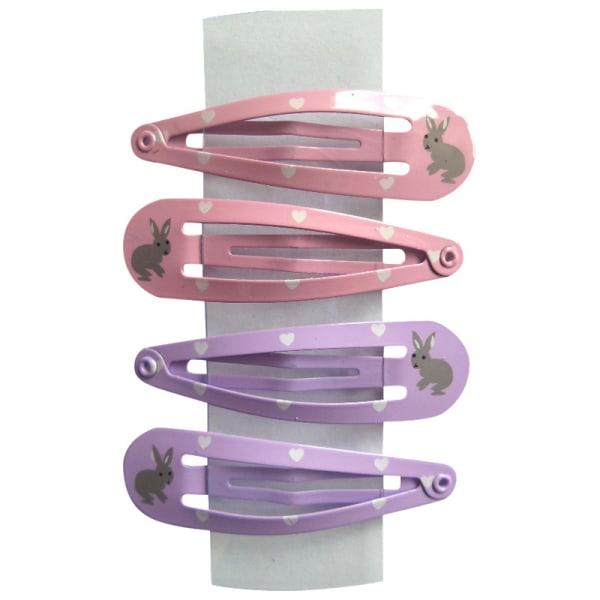 4 hårspännen med kaninmönster flerfärgad