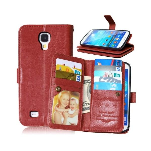 Dubbelflip Flexi 9-kort Samsung Galaxy S4 (GT-i9500) Brun