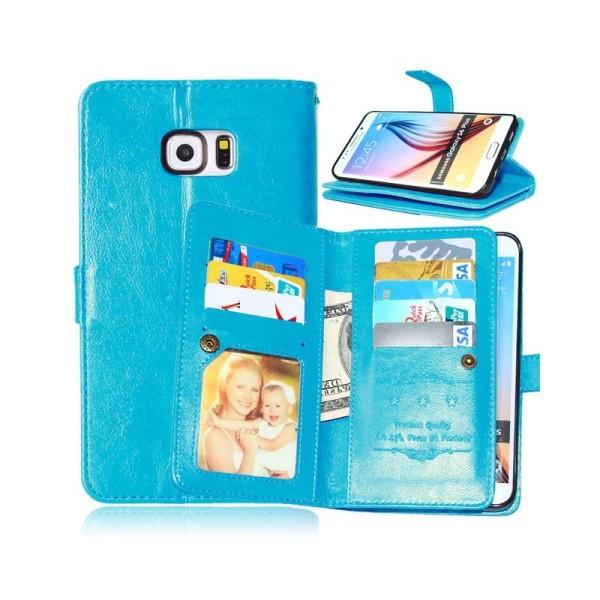 Dubbelflip Flexi 9-kort Samsung Galaxy S6 Edge Plus (SM-G928F) Ljusblå