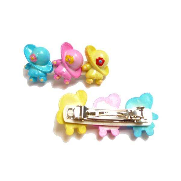 Barnhårspänne rosa/gul/blå