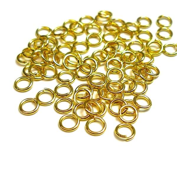Guldpläterade Ringöglor 5mm 100-pack