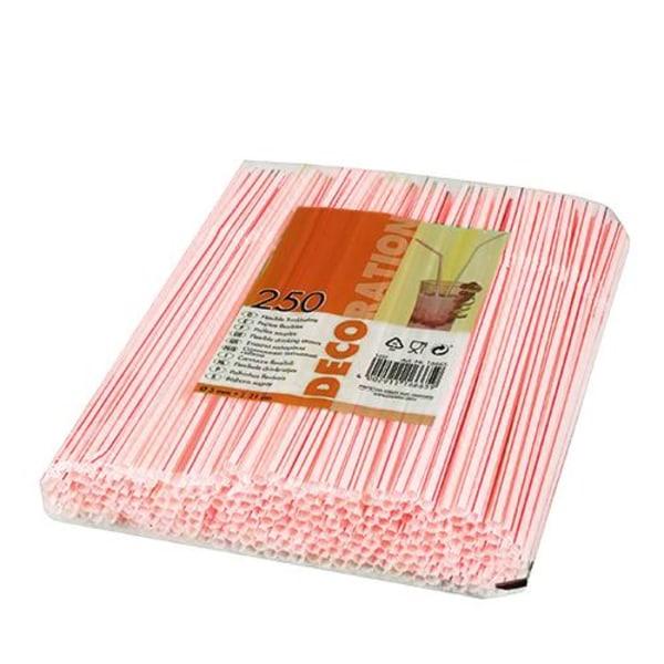 250-Pack - Böjbara Sugrör - Röd / Vit Vit