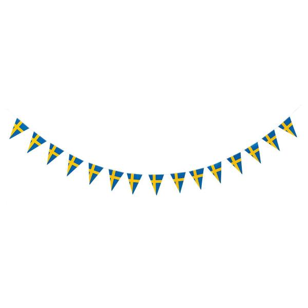 3.6m - Vimpelgirlang Sverige - Girlang / Flagga - Gul & Blå