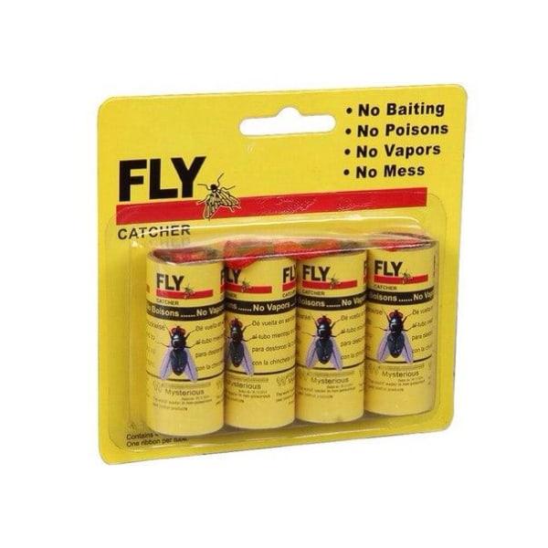 4-Pack - Flugfångare / Flugfälla / Myggfångare - Klister Tejp Mörk gul