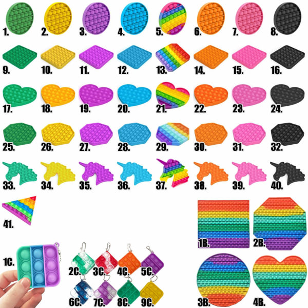 Pop It Fidget Toys - Leksak / Sensory - Välj modell & färg MultiColor 5. Cirkel - Regnbåge