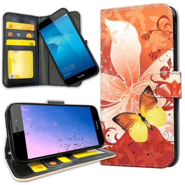 Huawei Honor 7 - Plånboksfodral Fjäril & Blomma