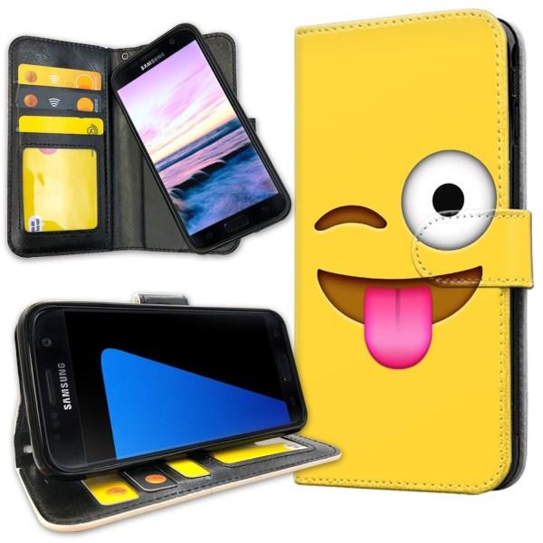 Samsung Galaxy S7 Edge - Plånboksfodral Emoji / Smiley