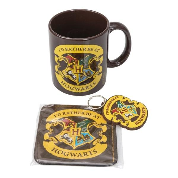 Harry Potter Mugg, Underlägg & Nyckelring - Hogwarts