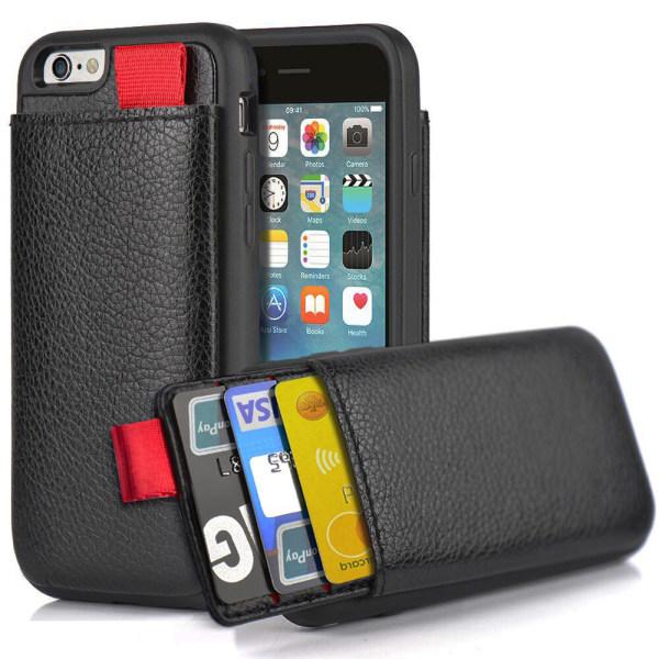 iPhone 8 - Skal / Mobilskal med Dolt Kortfack / Korthållare Svart
