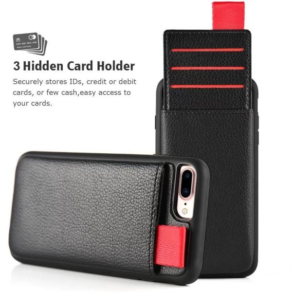 iPhone 7 Plus - Skal / Mobilskal med Dolt Kortfack / Korthållare Svart