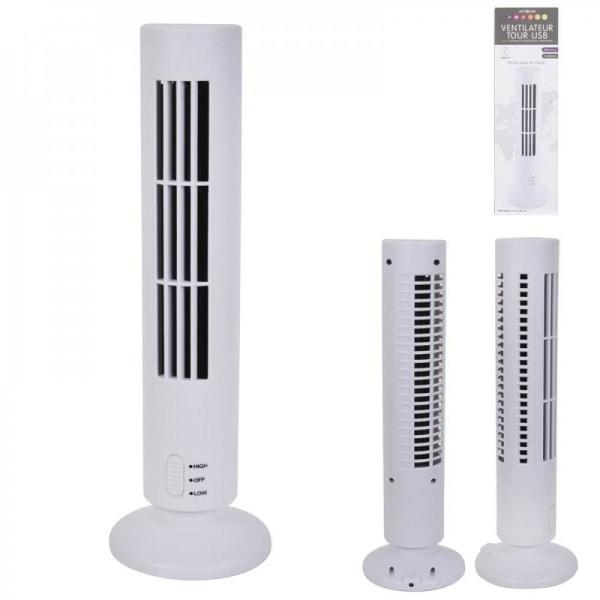 Mini Pelarfläkt - Luftkylare - Fläkt / Bordsfläkt - 33cm - USB Vit