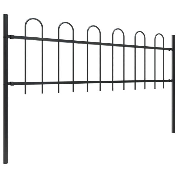 Trädgårdsstaket med böjd topp stål 5,1x0,6 m svart