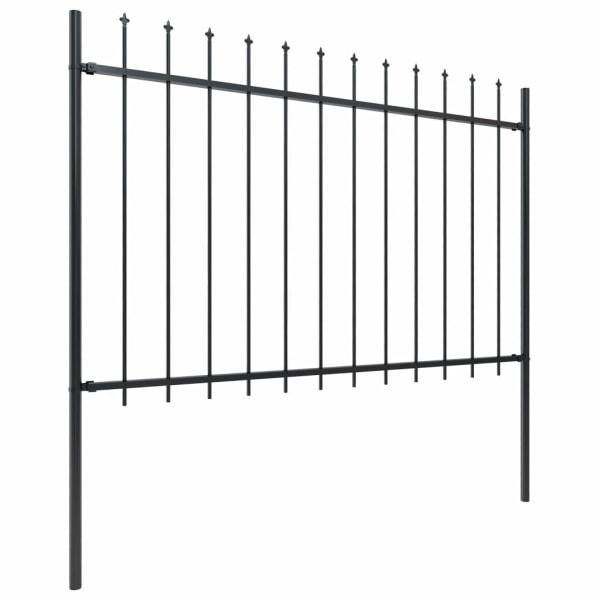 Trädgårdsstaket med spjuttopp stål 15,3x1,2 m svart