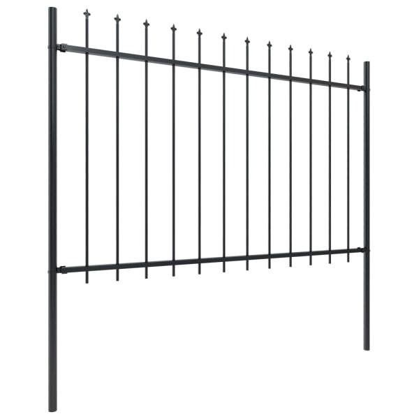 Trädgårdsstaket med spjuttopp stål 11,9x1,2 m svart