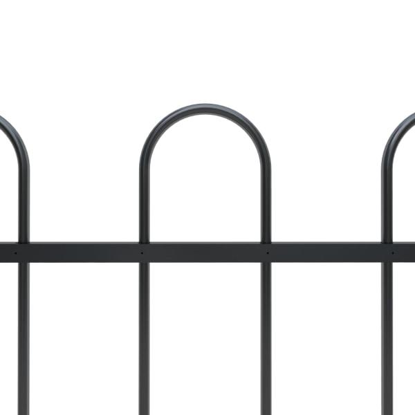 Trädgårdsstaket med böjd topp stål 6,8x0,8 m svart
